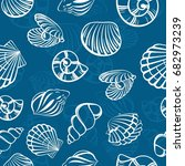 seamless pattern with marine... | Shutterstock .eps vector #682973239
