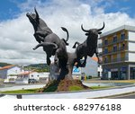 Small photo of ANGRA DO HEROISMO, AZORES, PORTUGAL - JUNE 22, 2017: Large Monument to the Bull, artwork by Renato Costa e Silva, installed in 2011 near the bullfighting arena in Angra do Heroismo, on Terceira island