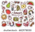 summer doodle set. various... | Shutterstock .eps vector #682978030
