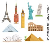 different world famous symbols... | Shutterstock .eps vector #682979014