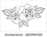 Stock vector line art rose vector hand draw 682984330