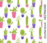 different plants  cactus. flat... | Shutterstock .eps vector #682986088