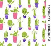 different plants  cactus. flat... | Shutterstock .eps vector #682986088