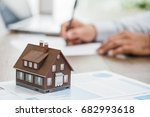 real estate agent working in... | Shutterstock . vector #682993618