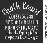 hand drawn chalk board alphabet ... | Shutterstock .eps vector #683006959