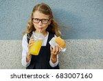 cute smiling  little schoolgirl ... | Shutterstock . vector #683007160