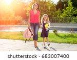 mom and schoolgirl of primary... | Shutterstock . vector #683007400