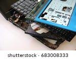 laptop computer destroyed... | Shutterstock . vector #683008333