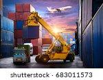 industrial container cargo... | Shutterstock . vector #683011573