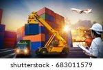 female dock worker control ... | Shutterstock . vector #683011579