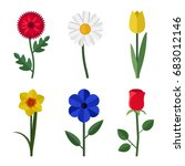 Flowers Icons In Flat Style....