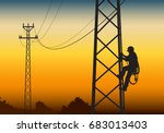 electrician climbing the tower  ... | Shutterstock .eps vector #683013403