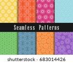 vintage seamless pattern set.... | Shutterstock .eps vector #683014426
