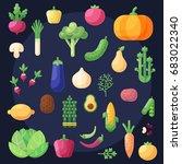 set of flat colorful design... | Shutterstock .eps vector #683022340