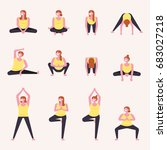 yoga movements for mothers... | Shutterstock .eps vector #683027218
