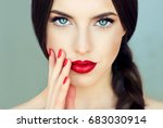 beautiful  brunette model girl... | Shutterstock . vector #683030914