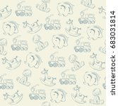 seamless pattern with retro... | Shutterstock .eps vector #683031814