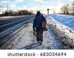 elderly man has been fishing in ... | Shutterstock . vector #683034694