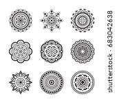 set circular pattern in the... | Shutterstock .eps vector #683042638