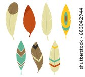bohemian feathers and hipster... | Shutterstock .eps vector #683042944