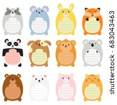 Stock vector cute animal memo pads with lines 683043463