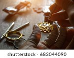 the watchmaker is repairing the ... | Shutterstock . vector #683044090