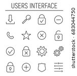 set of ui icons in modern thin...