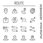 set of route in modern thin... | Shutterstock .eps vector #683044834