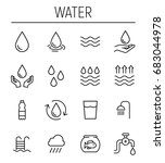 set of water in modern thin... | Shutterstock .eps vector #683044978