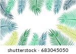 green coconut leaf frame... | Shutterstock . vector #683045050