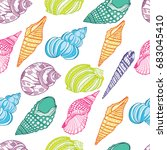 colored seashells pattern | Shutterstock .eps vector #683045410