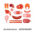 set of cartoon meat icons | Shutterstock .eps vector #683048680