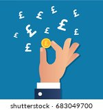 hand holding gold coin and... | Shutterstock .eps vector #683049700