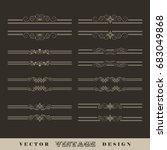 set of vintage vector... | Shutterstock .eps vector #683049868
