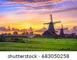 traditional village with dutch... | Shutterstock . vector #683050258