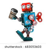 retro robot walking with a cup... | Shutterstock . vector #683053603
