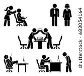 stick figure office poses set.... | Shutterstock .eps vector #683054164
