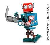 retro robot using laptop. 3d... | Shutterstock . vector #683054230