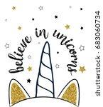 believe in unicorns with... | Shutterstock .eps vector #683060734