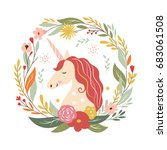 autumn wreaht with unicorn | Shutterstock .eps vector #683061508