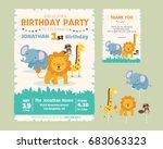 cute animal theme birthday... | Shutterstock .eps vector #683063323