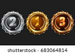 gold  silver and bronze medals. ... | Shutterstock .eps vector #683064814