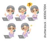 vector set of old woman ...   Shutterstock .eps vector #683067004