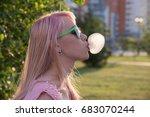 young beautiful girl in green... | Shutterstock . vector #683070244