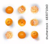 mandarin oranges   fruit pattern | Shutterstock . vector #683071060