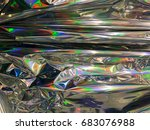 holographic color wrinkled foil ... | Shutterstock . vector #683076988