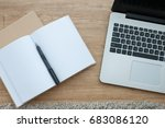 top view of notebook and laptop ... | Shutterstock . vector #683086120