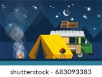 recreation in nature. car with... | Shutterstock .eps vector #683093383