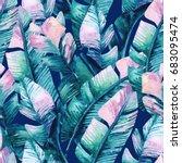 banana leaf seamless pattern.... | Shutterstock . vector #683095474