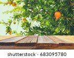 vintage wooden board table in... | Shutterstock . vector #683095780